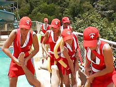 Horny shemale lifeguards saved a guy!