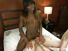 Interracial deep anal with ebony shemale