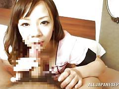 maid, blowjob, pov, hairy cock, licking dick, brown haired, slurping, japanese babe, japanese slurp, all japanese pass, arisa araki
