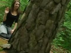 Cute girl sucks cock in the woods