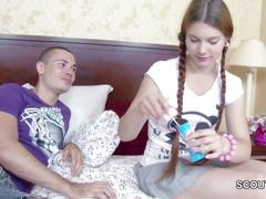 Petite step-sister seduce to fuck and lost virgin