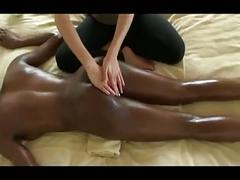 Massage on bed for black girl