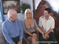 Busty blonde wife fucked with husband watching