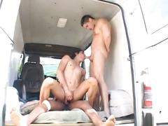 Sweet twinks ass feeds on two hot big cocks in van