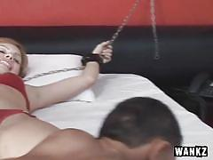 Tied on bed and fucked by a midget