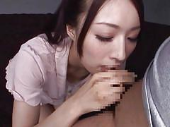 Cute japanese girl slurps on a cock