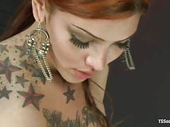 Redhead shemale jeena plays with her boy