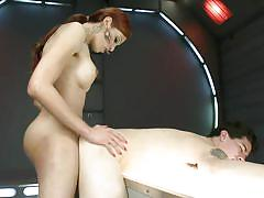 jerking, blowjob, tatoo, huge dildo, blindfolded, from behind, anal insertion, tall shemale, redhead shemale, shemale domination, tyler alexander, jenna rachels, ts seduction, kinky dollars