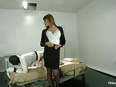 Gorgeous blonde tall shemale enjoys being the boss in bed