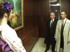 Kimono girl rinka kanzaki deals two massive cocks