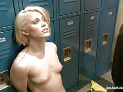 small tits, deepthroat, punishment, blowjob, locker room, slapping, submission, on knees, blonde chick, rapist, ash hollywood, mr. pete, sex and submission, kinky dollars