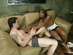 Big booty ebony shemale roughly fucks a white gay