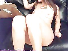 Hippy chick whips her pussy and tits
