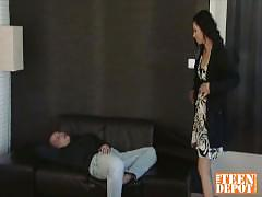Hot brunette fucked by fit stud