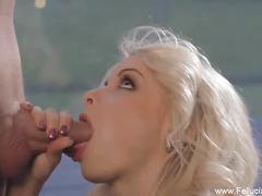 babe, blonde, blowjob, cumshot, handjob,