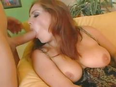 Fiery red head slut fucked hard in tight anal hole