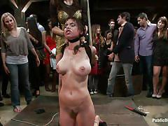 Brunette tied and fucked in the mouth hardcore in public