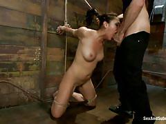 bondage, bdsm, domination, tied up, mouth fuck, submission, brunette milf, hispanic, mouth opened, vault, clothespins, vicki chase, james deen, sex and submission, kinky dollars