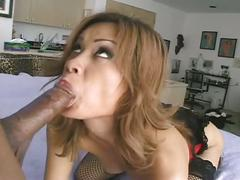 Asian takes big black cock in her tight anal hole.