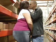 Warehouse worker slacking off dreams of bbw