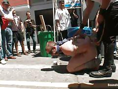 bondage, outdoor, public, humiliation, blindfolded, gay bdsm, tied up, cock torture, on knees, bucket, crowd, john jammen, sebastian keys, master avery, scratch, ned mayhem, cody allen, bound in public, kinky dollars