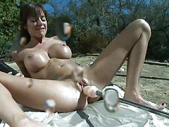 Gorgeous white slut and her sex machine