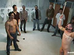 tattoo, pissing, public, humiliation, dildo, gay bdsm, anal insertion, floor, ropes, gay gang bang, drowning, phenix saint, kieron ryan, bound in public, kinky dollars