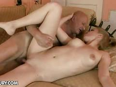 Blonde babe fucks by an old man