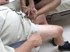 Busty ebony footjob her doctor on bed