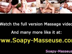 Sexy babe soapy massage blowjob cumshot