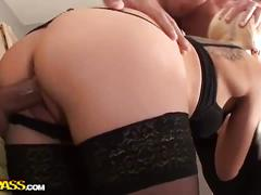 Hot blonde's anal gang-bang