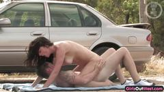 Busty australian chick fucked and creampied by the car