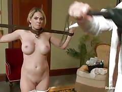 bdsm, big tits, punishment, domination, vibrator, bedroom, blonde milf, mouth gagged, bastonnade, galley whip, angela attison, mark davis, sex and submission, kinky dollars