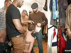 Cute gay knelt, dominated and gang banged in a store