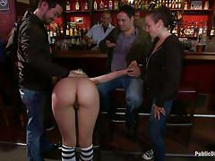 Tiny busty japanese brunette torture and massage in a bar