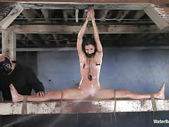 small tits, screaming, tit torture, spread legs, brunette milf, executor, clothespins, mouth gagged, water bdsm, cold water, water jet, wenona, water bondage, kinky dollars