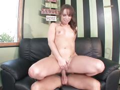 Brunette newbie fills pornstar dream
