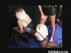 Erotic spanking and lesbian domination of blonde babe susana