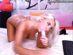 Blond teen with perfect body masturbates