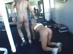 Blonde bitch bukkake in gym