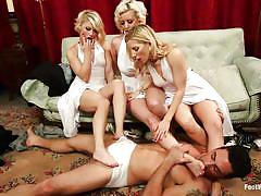 foursome, kinky, pussy licking, couch, 1 on 3, blonde milfs, rubbing cock, licking feet, feet fetish, cherry torn, ash hollywood, ashley fires, ryan driller, foot worship, kinky dollars