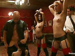 Three guys come and punish hot milfs