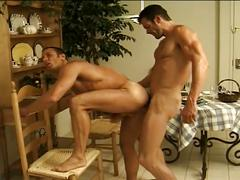 Two horny guys go for after-dinner sex