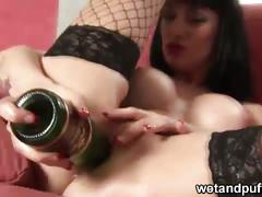 Sofia valentine masturbates with bottle