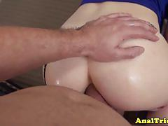 Horny gf  blonde ali rae anal try out and facial