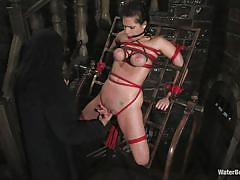 bdsm, big tits, tattooed, dungeon, tied up, brunette milf, gag, water bdsm, sibari, nipple clamps, stick with dildo, mia bangg, water bondage, kinky dollars