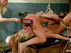 Lesbian threesome with a bossy blonde milf