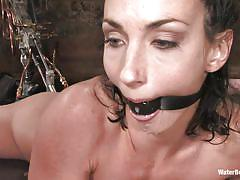 small tits, fucking machine, dungeon, from behind, brunette milf, gag, water bdsm, cold water, nipple clamps, anal hook, wenona, water bondage, kinky dollars
