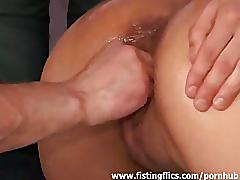 Brutal fist fucked and pissed slut
