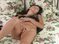 Horny asian babe with big toys.